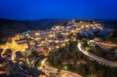 Ragusa, Sicily, Italy illuminated at night