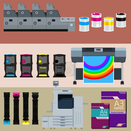 Illustration for Set of polygraphic machines and equipment - Royalty Free Image