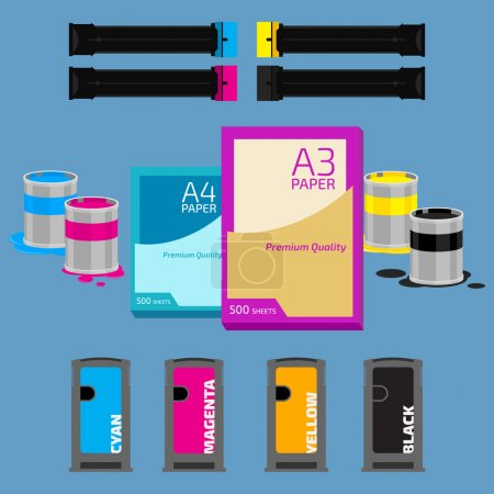 Illustration for Laser and ink cartridge, paper on blue background - Royalty Free Image