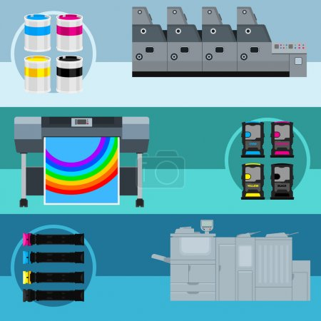 Illustration for Printing equipment. Color printer. Cyan, magenta, yellow, black pant. Color Ink and cartridge. Copy and scan. Laser, ink, offset machine.  Vector press industry. - Royalty Free Image