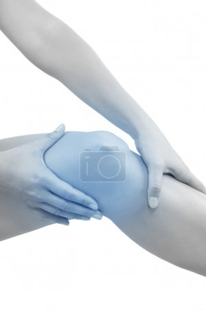 Woman holding her knee, Knee pain.