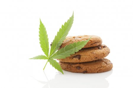 Cookies with hemp leaf isolated.