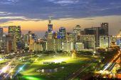 night cityscape in Bangkok Thailand