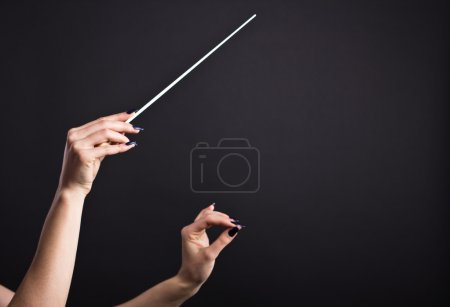 Conductor's  baton in beautiful female hands on a black background.Conductor holds baton in the dark.