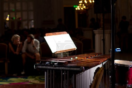 Percussion instruments in a chamber hall. Drums. Marimba. Bass. Jazz. intimate lighting