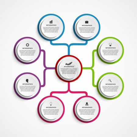 Illustration pour Modèle d'organigramme de conception infographique. - image libre de droit