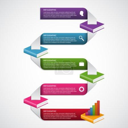 Illustration for Education books step option Infographics design template. Vector illustration. - Royalty Free Image