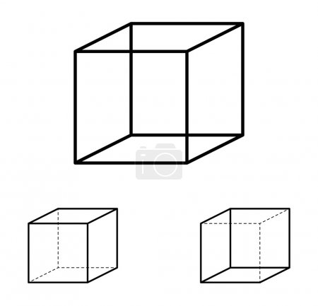 Illustration for Necker cube optical illusion. Ambiguous line drawing. Most people see the left interpretation of the cube because people view objects more often from above, with the top side visible, than from below. - Royalty Free Image