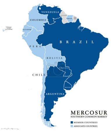 MERCOSUR Southern Common Market countries info map...