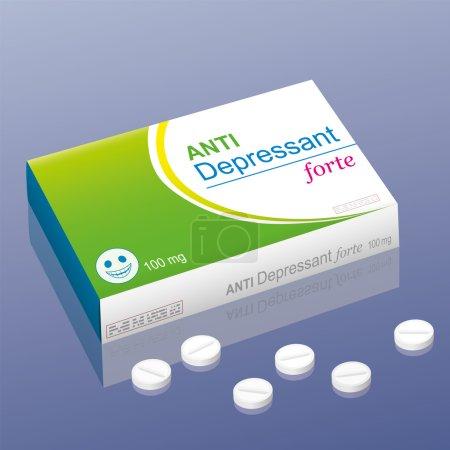 Photo pour Pilules nommées Anti Depressant forte avec une pilule souriante comme logo de la marque sur le paquet. C'est un faux produit médical, qui fait allusion à la manipulation avec des médicaments psychotropes. Illustration vectorielle . - image libre de droit