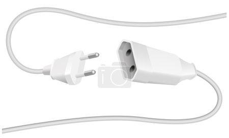 Illustration pour Extension câble et fiche, connecteur schuko, pour connecter l'équipement électrique. Illustration vectorielle isolée sur fond blanc . - image libre de droit