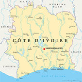 Ivory Coast Political Map - Cote d'Ivoire - with capital Yamoussoukro national borders important cities rivers and lakes English labeling and scaling Illustration