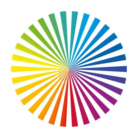 Illustration for Circular color fan deck composed of thirty different vibrant ink stripes. Isolated vector illustration on white background. - Royalty Free Image
