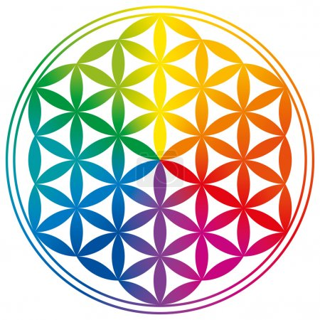 Illustration for Flower of Life with rainbow color gradients. Circles are forming a flower-like pattern. A spiritual symbol since ancient times and Sacred Geometry. - Royalty Free Image