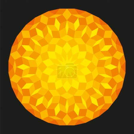 Illustration for Sun from a Penrose Pattern on black background, a specific geometric figure in mathematics, on black background. Non-periodic tiling generated by an aperiodic set of prototiles. - Royalty Free Image