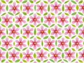 Flower of life pattern composed of pink flowers and green leaves Isolated vector illustration on white background