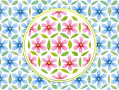 Flower of life symbol - composed of pink flowers and green leaves - and blue flowers in the background Isolated vector illustration