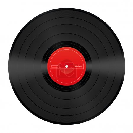 Vinyl record with blank red center that can be lab...