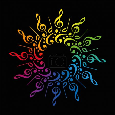 Illustration pour Clefs et scores aigus et basses formant une fleur ou une étoile radiale de couleur arc-en-ciel. Illustration vectorielle isolée sur fond noir . - image libre de droit