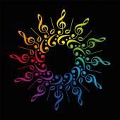 Treble Clefs Bass Clefs Rainbow Colors Star