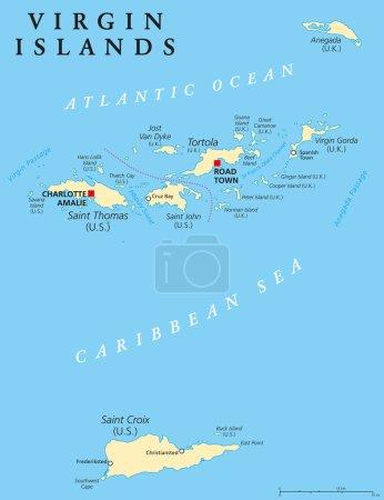 Illustration pour Carte politique des Îles Vierges. Un groupe insulaire entre la mer des Caraïbes et l'océan Atlantique. Îles Vierges britanniques et îles Vierges des États-Unis. Étiquetage et mise à l'échelle en anglais. Illustration . - image libre de droit