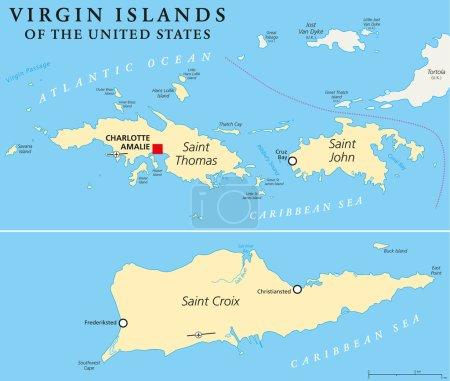 Illustration pour Carte politique des îles Vierges américaines. Un groupe d'îles des Caraïbes qui sont une zone insulaire des États-Unis. Étiquetage et mise à l'échelle en anglais. Illustration . - image libre de droit