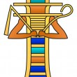 Djed pillar with crook and flail. Colored hierogly...