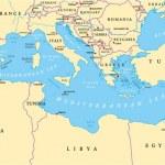 Mediterranean Basin Political Map. South Europe, N...