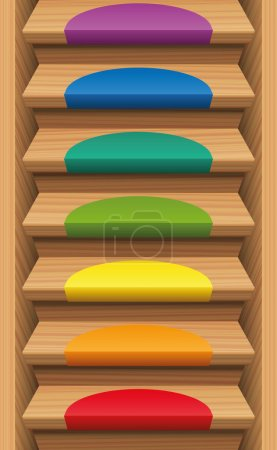 Staircase Colored Mats Rainbow Colors