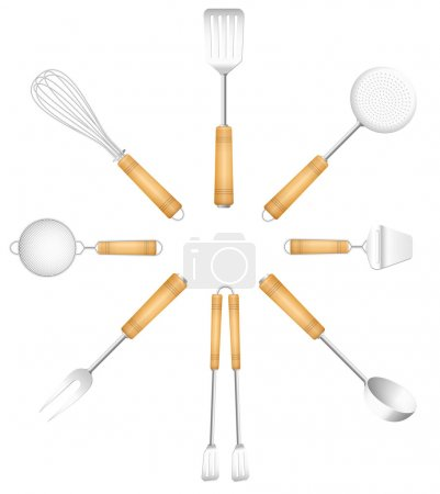 Kitchen tools in a circle - skimmer, strainer, spa...