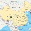 China political map with capital Beijing, national...