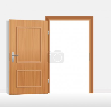 Illustration for Open door to a bright white room. Vector illustration. - Royalty Free Image