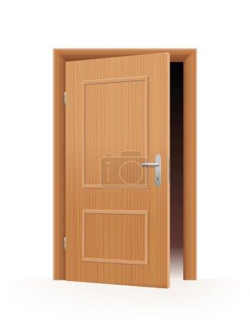 Illustration for Ajar door - wooden optic - dark room inside. Vector illustration on off-white to white gradient background. - Royalty Free Image