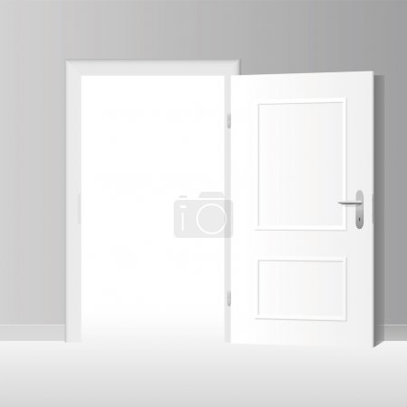 Illustration for Wide open white door to a bright white room. Vector illustration. - Royalty Free Image