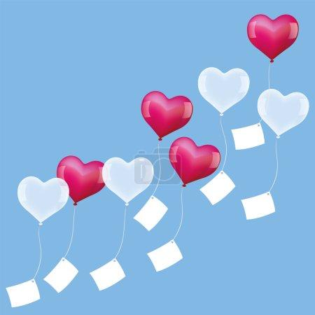 Illustration pour Des ballons en forme de cœur avec des lettres vierges sont envoyés pour se réaliser à la Saint-Valentin, anniversaire ou lors d'une célébration de mariage. Illustration vectorielle sur fond bleu . - image libre de droit
