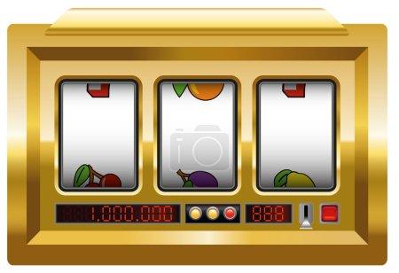 Illustration pour Machine à sous dorée avec trois bobines vierges pour insérer le logo de votre entreprise ou tout texte ou image. Illustration sur fond blanc . - image libre de droit