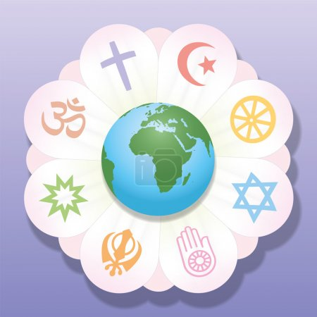 Photo for World religions united as petals of a flower - a symbol for religious solidarity and coherence - Christianity, Islam, Buddhism, Judaism, Jainism, Sikhism, Bahai, Hinduism. Vector illustration. - Royalty Free Image
