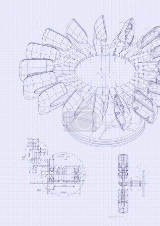 Industrial blueprint of hydraulic water turbine