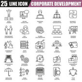 Thin line icons set of corporate development, business leadership training and corporate career. Modern flat linear concept pictogram, set outline symbol for graphic and web designers.