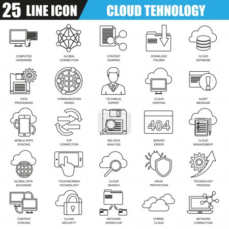 Thin line icons set of cloud data technology services, global connection, cloud computing. Modern flat linear concept pictogram, set outline symbol for graphic and web designers.