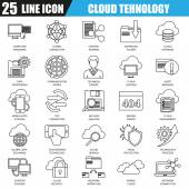 Thin line icons set of cloud data technology services global connection cloud computing Modern flat linear concept pictogram set outline symbol for graphic and web designers EPS10
