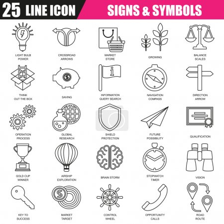 Thin line icons set of various business sing and symbols, metaphor elements. Modern flat linear concept pictogram, set outline symbol for graphic and web designers.