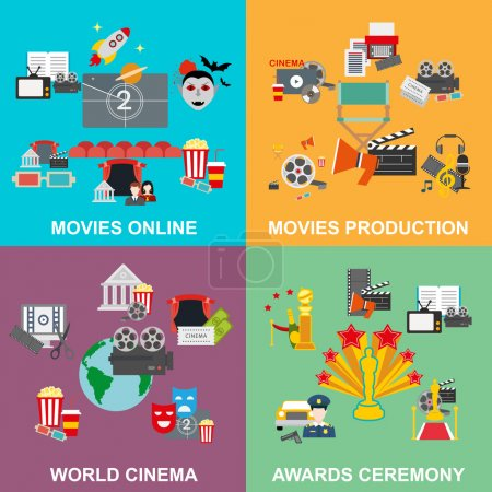 Flat design concept cinema, set of movie online and production, awards ceremony with director viewers and oscar figurine vector illustration