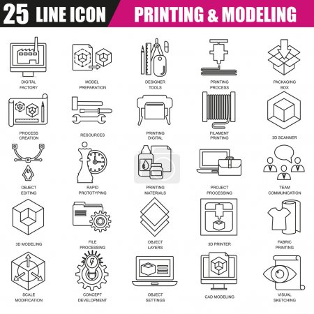 Thin line icons set of 3D printing and modeling technology. Modern flat linear concept pictogram, set outline symbol for graphic and web designers.