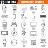 Thin line icons set of computer electronics and multimedia devices Modern flat linear concept pictogram set outline symbol for graphic and web designers EPS10