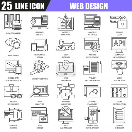 Thin line icons set of web design and development, web coding, API programming and customization. Modern flat linear concept pictogram, set outline symbol for graphic and web designers.