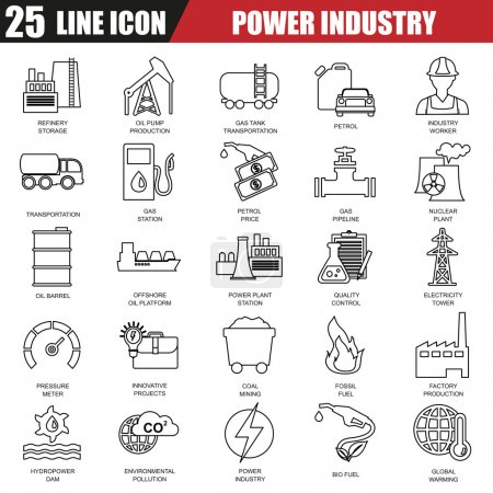Thin line icons set of power plant, extraction of various resources, electricity industry. Modern flat linear concept pictogram, set outline symbol for graphic and web designers.
