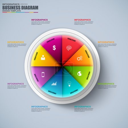 Abstract 3D business circular diagram Infographic. Can be used for workflow layout, data visualization, business concept with 6 options, parts, steps or processes, banner, chart, web design.