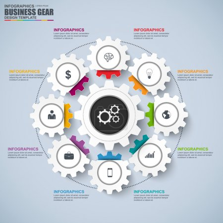 Abstract 3D business gear diagram Infographic. Can be used for workflow layout, data visualization, business concept with 8 options, parts, steps or processes, banner, chart, web design.