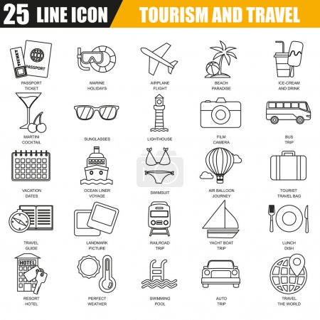 Thin line icons set of tourism recreation, travel vacation to resort hotel. Modern flat linear concept pictogram, set outline symbol for graphic and web designers.